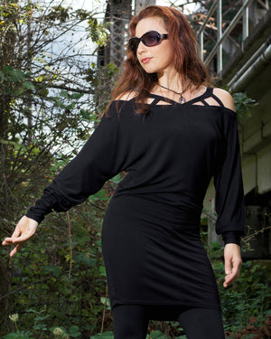 black minimalist tunic dress 2