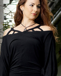 Caged Shoulder Balloon Sleeve Top - Black