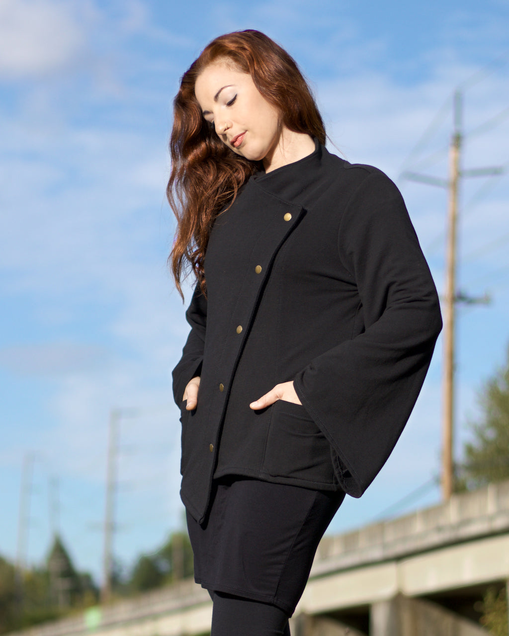 Asymmetric Snap Jacket - Black
