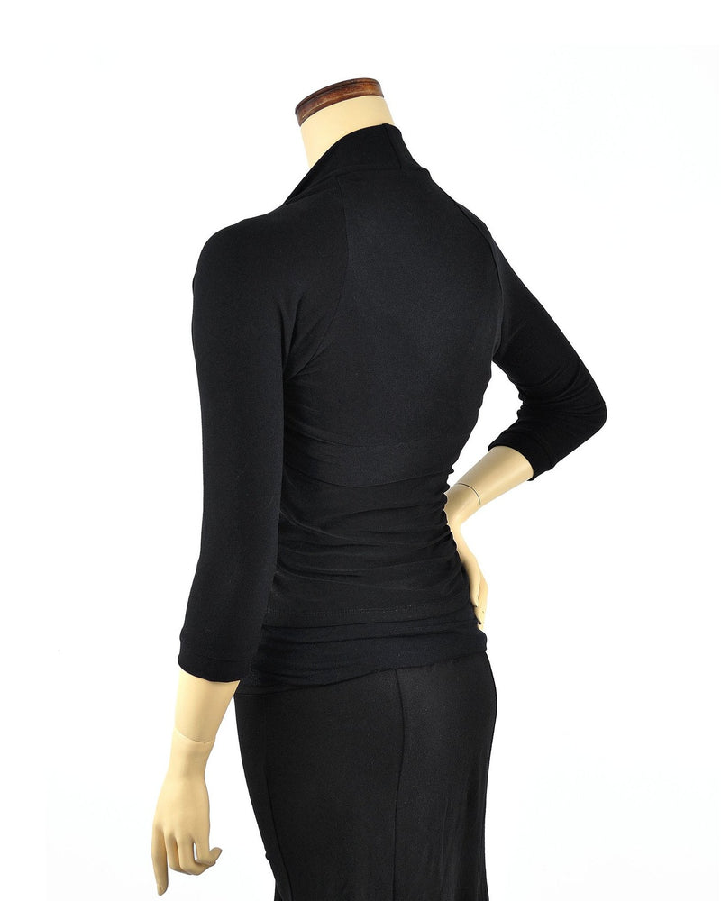 Bamboo Shrug - Black 3/4 Sleeve