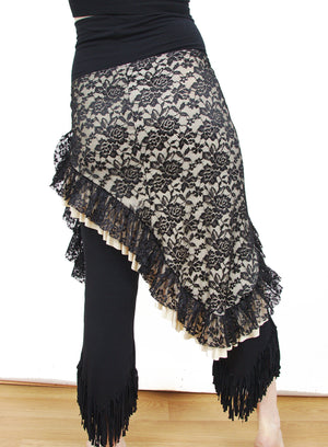 Mariposa Hip Scarf - Black Lace over Cream
