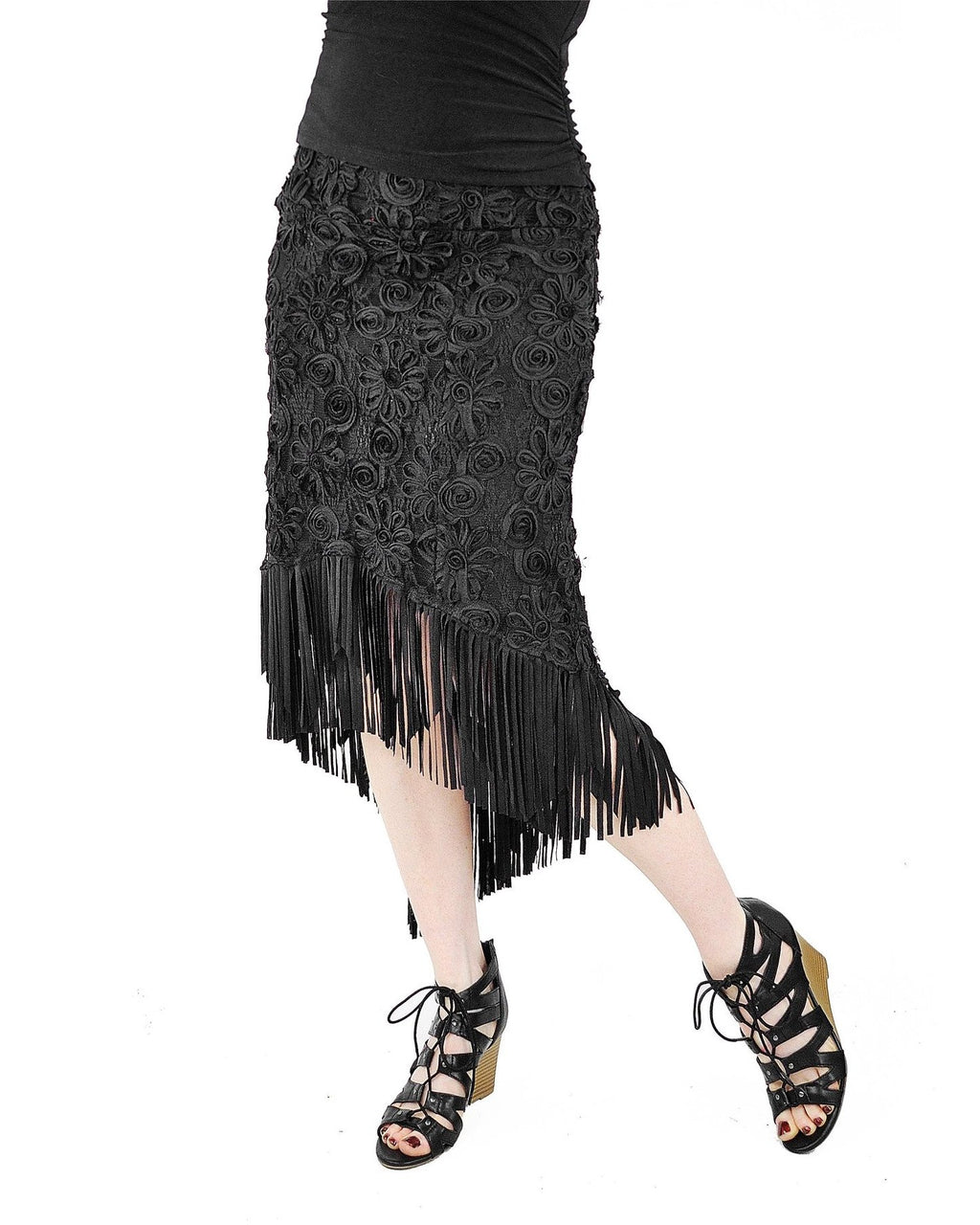Mimi Fringe Skirt - Black