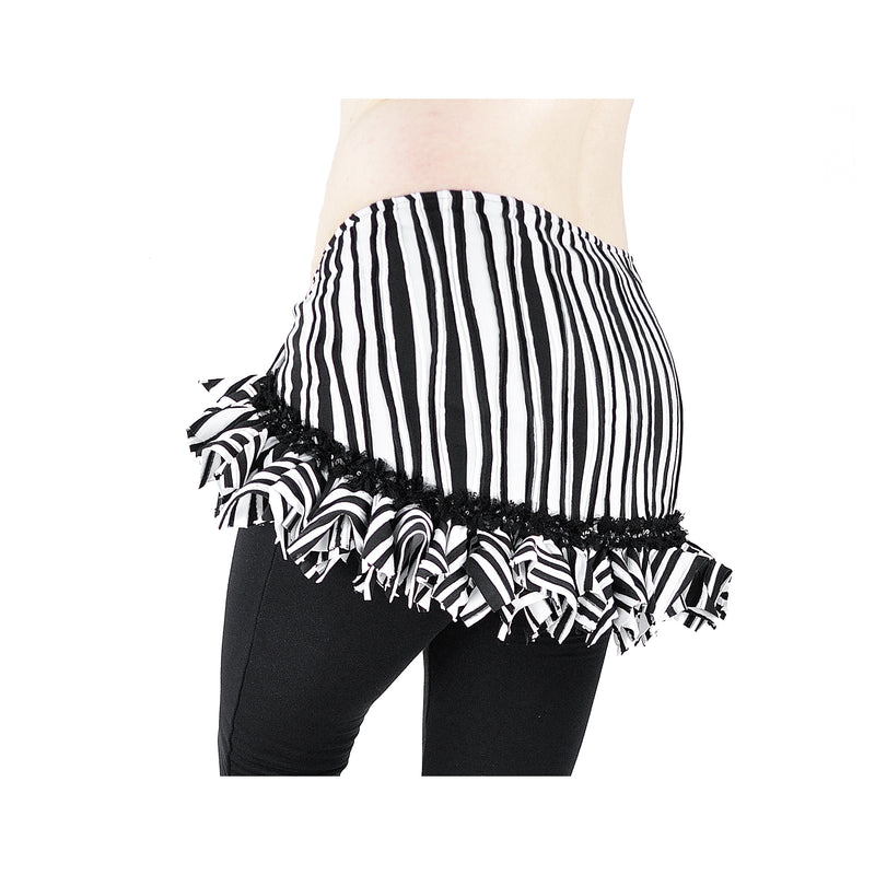 Rosa Hip Scarf  - Black and White Wavy Stripe