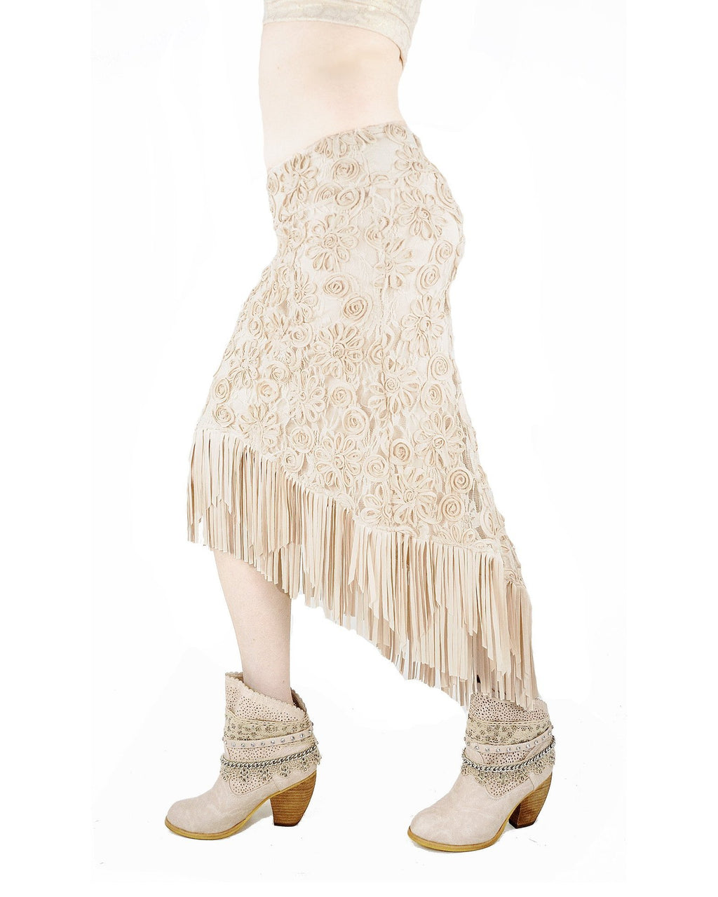 Mimi Fringe Skirt - Cream