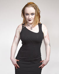 Asymmetric Sleeveless Top - Black