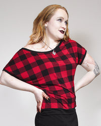 Oversized Tee - Red Plaid