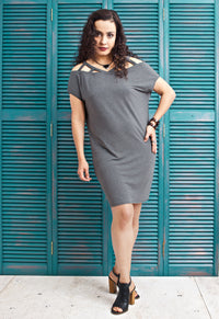Caged Shoulder T Shirt Dress - Gray