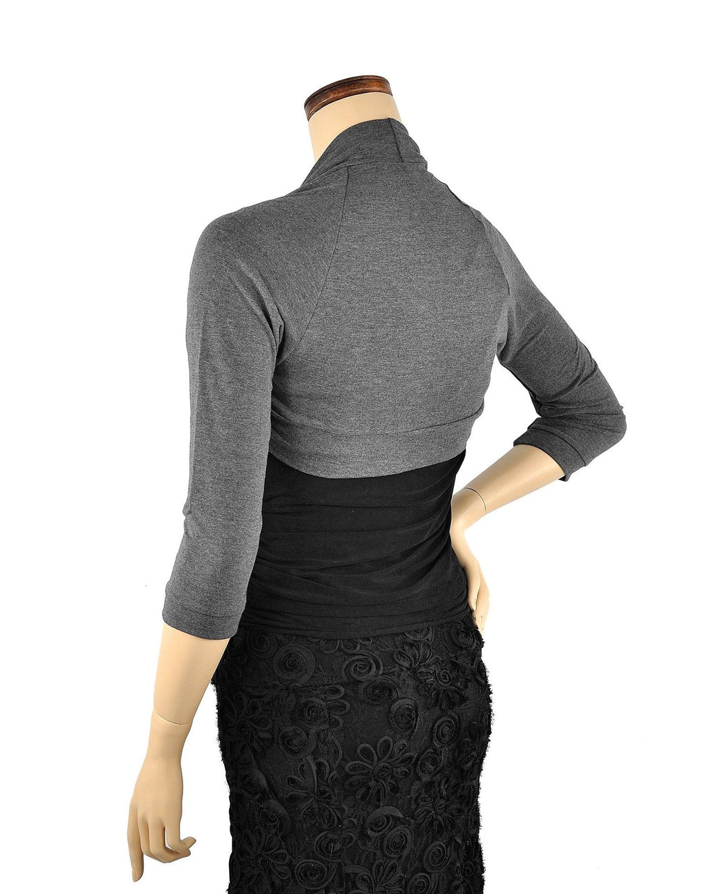 Bamboo Shrug - Gray 3/4 Sleeve