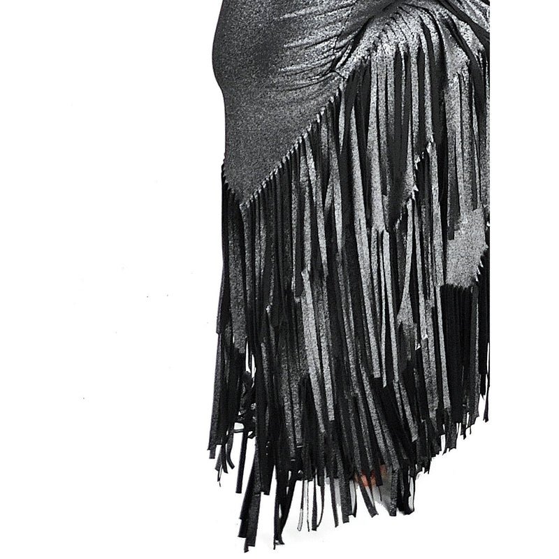 Liquid Fringe Pants - Silver and Black Metallic