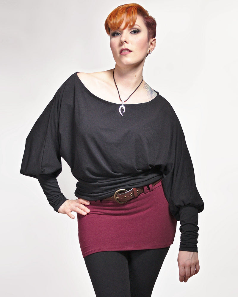 Wide Neck Balloon Sleeve Top