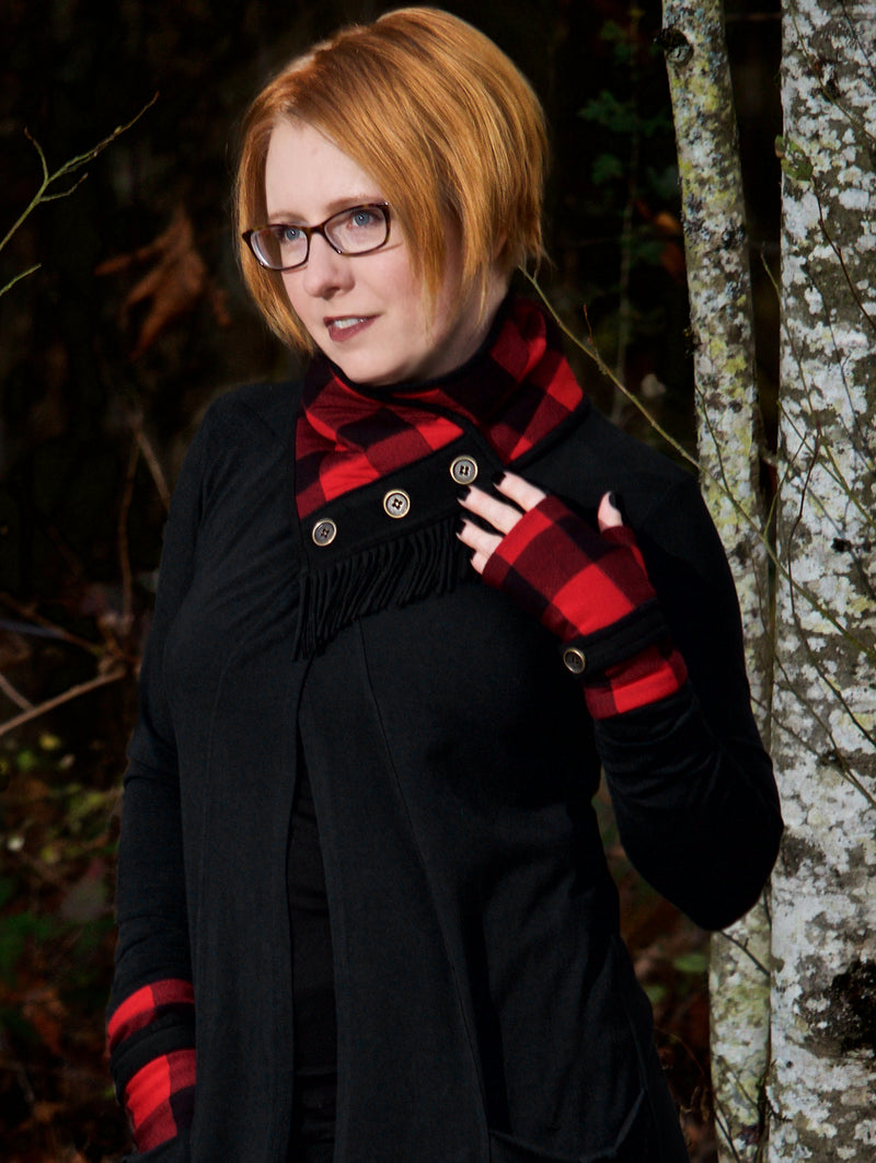 Fingerless Gloves - Red Plaid