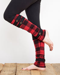 Leg Warmers - Red and Black Plaid