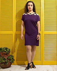 Caged Shoulder T Shirt Dress - Purple
