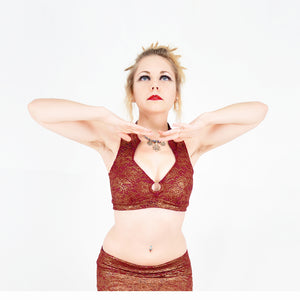 Madeline Top - Burgundy and Gold Lace