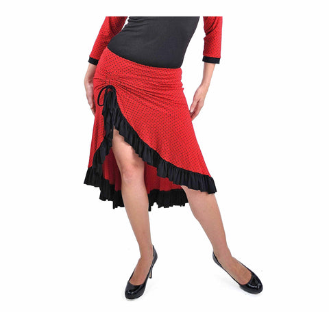 Bamboo Milonga Skirt - Red Black Polka Dot