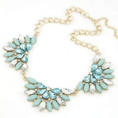 Aquamarine Flower Fashion Necklace - Micha Store  - 1