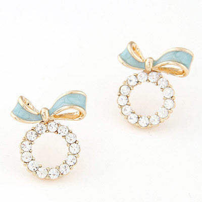 Natalie Blue Bow Earrings