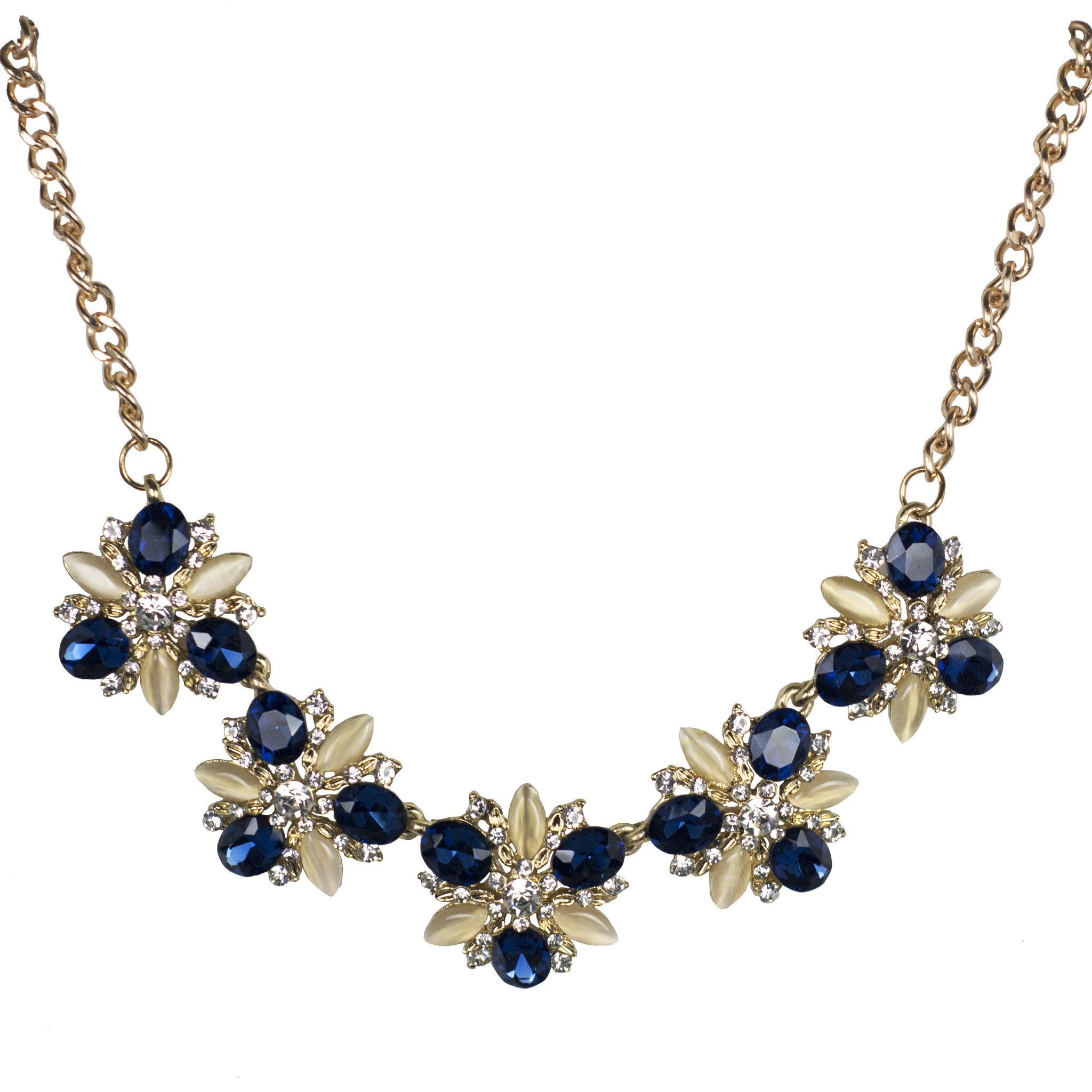 Scarlett Blue and Gold Fashion Necklace