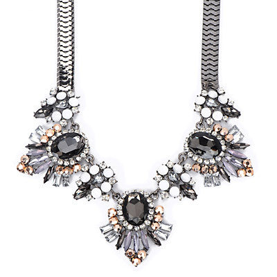 Triple Grey Gemstone Fashion Necklace - Micha Store  - 1