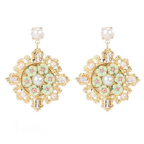 Ansel Green Flower and Gold Statement Earrings