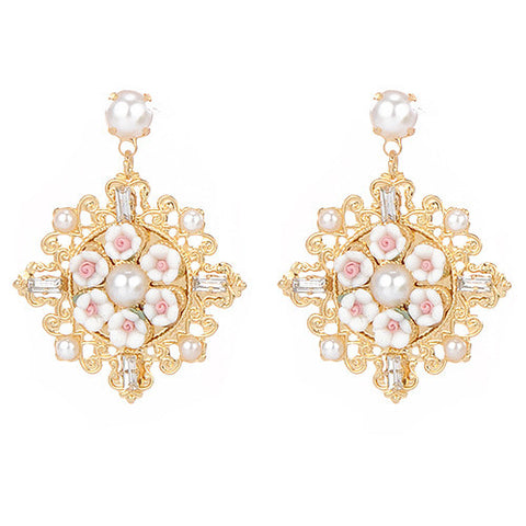 Ansel White Flower and Gold Statement Earrings