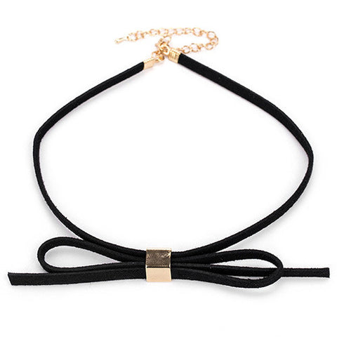 Kate Black and Gold Bow Choker