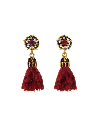 Vega Maroon Tassel Earrings
