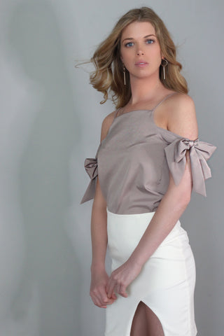 Cassandra Brown Bow Off-Shoulder Top