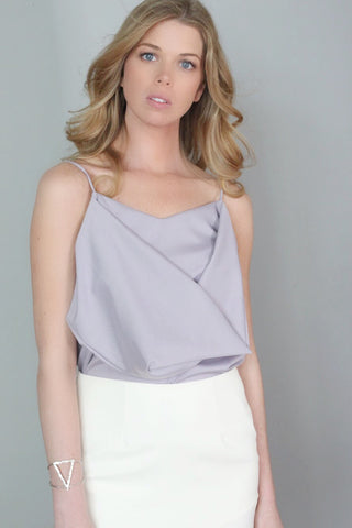 Thea Purple/Gray Draped Tank Top