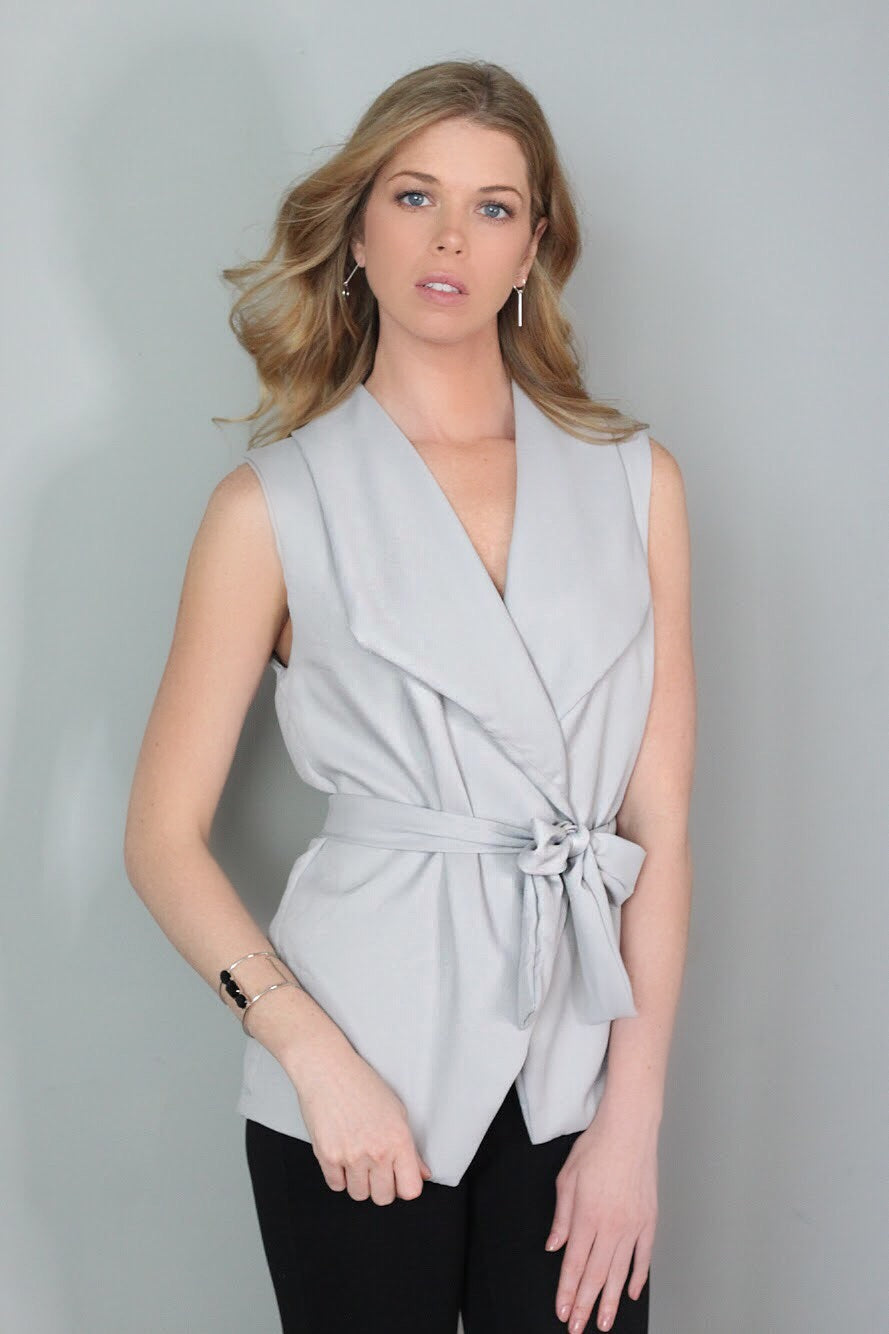 Eloise Gray Wrap Vest Top