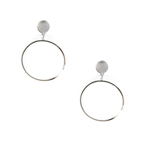 Grettel Circle Silver Dangling Earrings