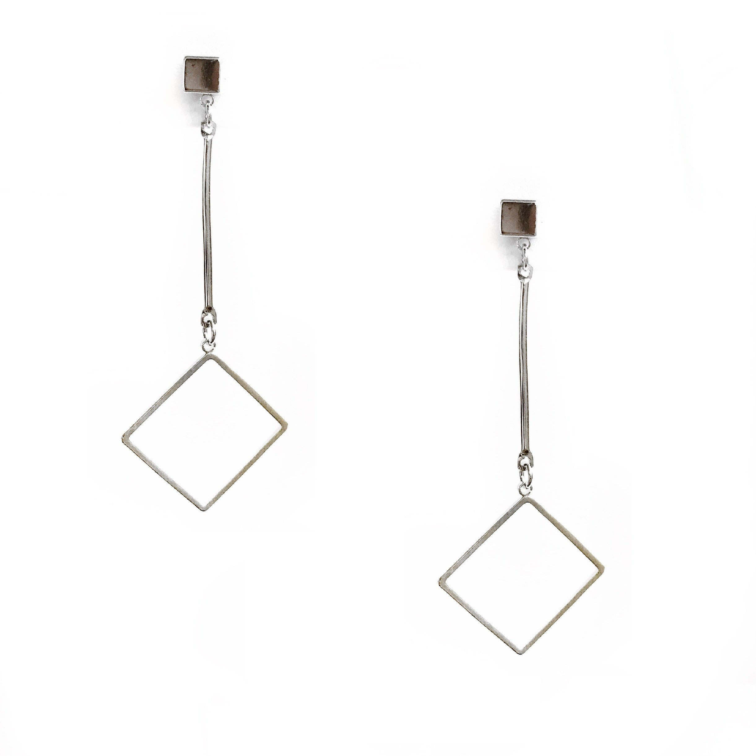Heidi Silver Square Dangling Earrings
