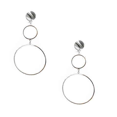 Sybil Circle Silver Dangling Earrings