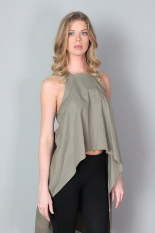 Knox Olive Green Asymmetrical Top