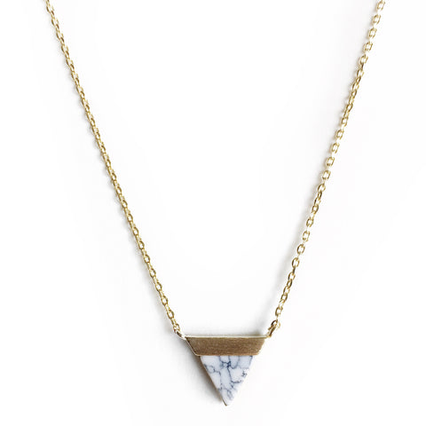 Luna Marble and Gold Little Charm Necklace