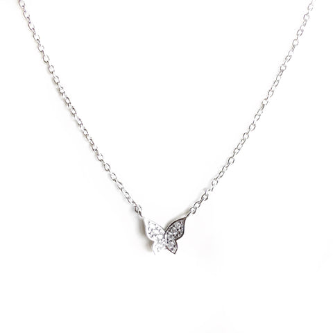 Magnolia Silver Butterfly Charm Necklace