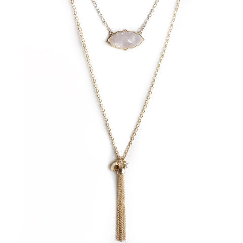 Aria Long Stone and Tassel Gold Charm