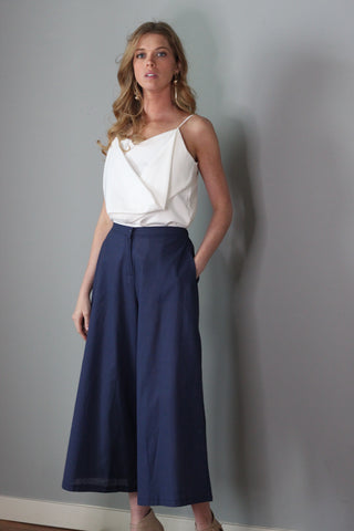 Tabitha Navy Blue Wide Legged Pants Culottes