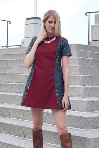 Nindya Navy Blue and Red Maroon Dress