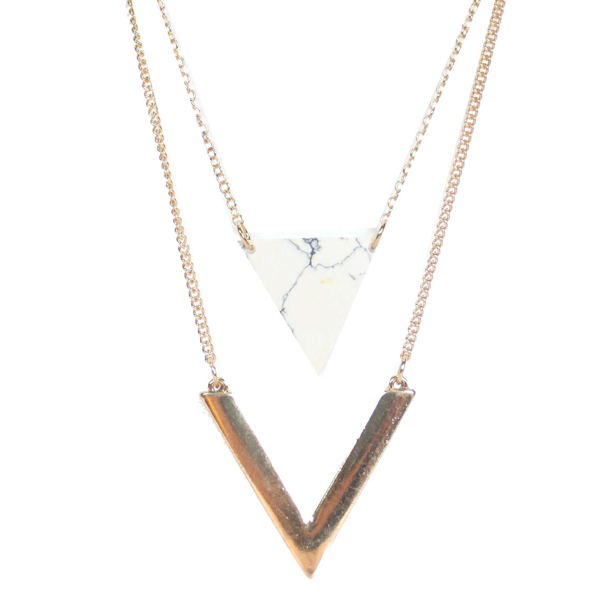 Victorine Marble and Gold Necklace