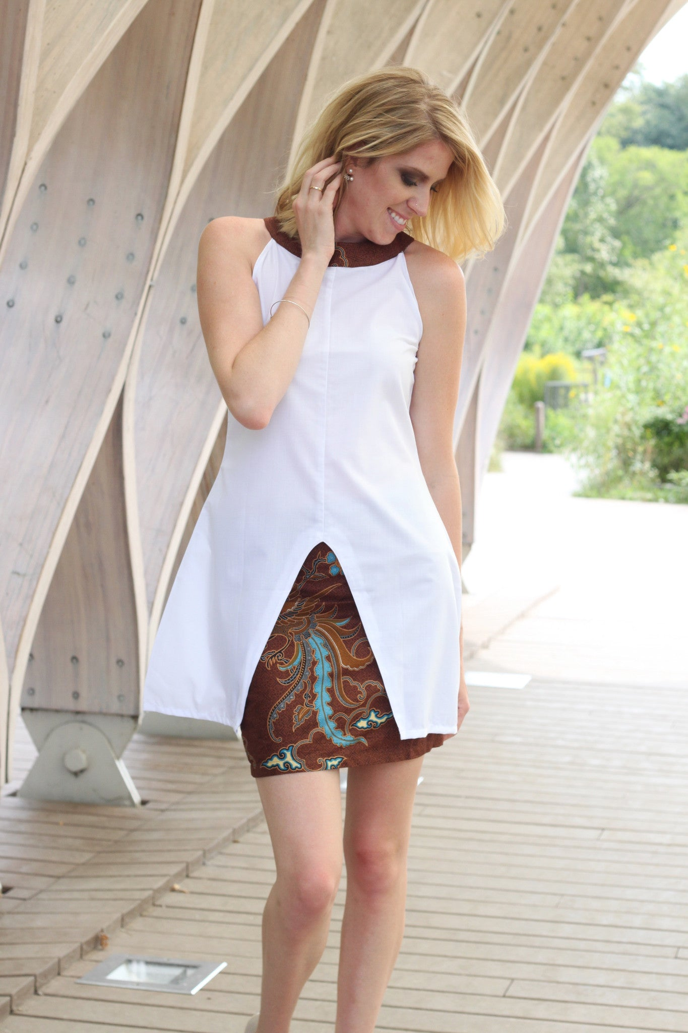 Helena White and Brown Symmetrical Top