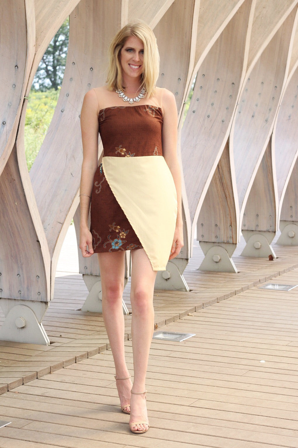 Mitha Brown and Yellow Asymmetrical Dress