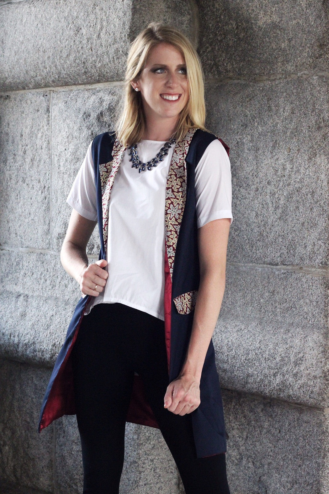 Sharon Navy Blue and Maroon Vest