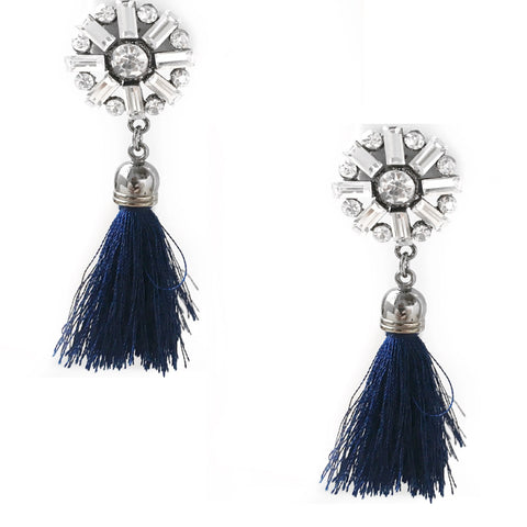 Stephany Navy Blue Tassel Earrings