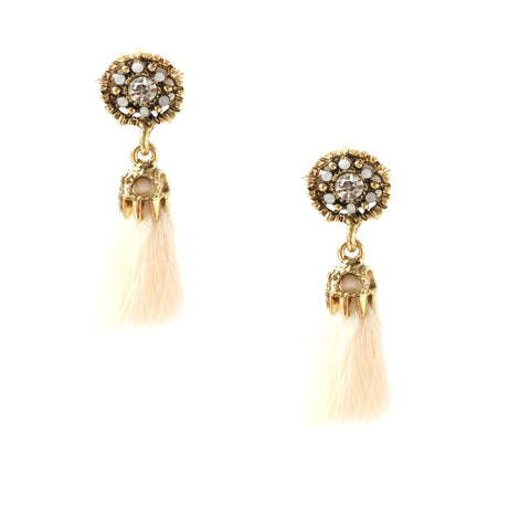 Vega Peach Tassel Earrings