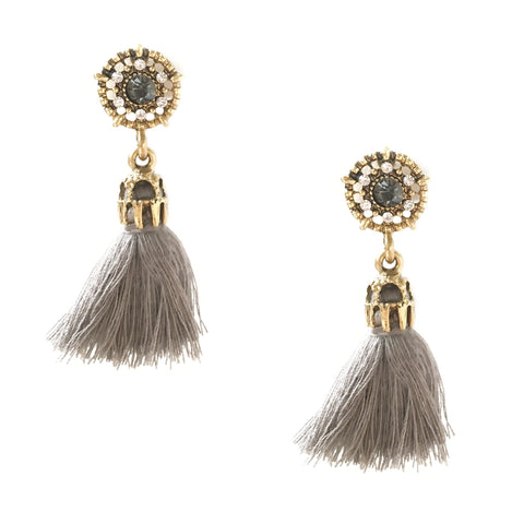 Vega Grey Tassel Earrings