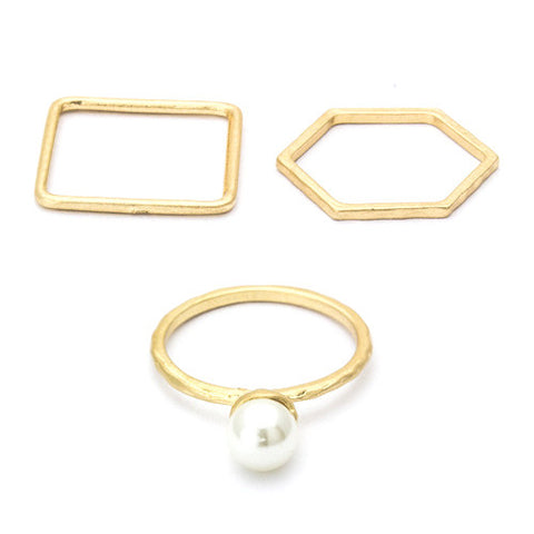 Jazzy Gold and Pearl Ring Set