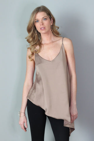 Luna Satin Brown Asymmetrical Tank Top