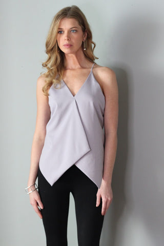 Simone Purple/Gray Cascading Halter Top