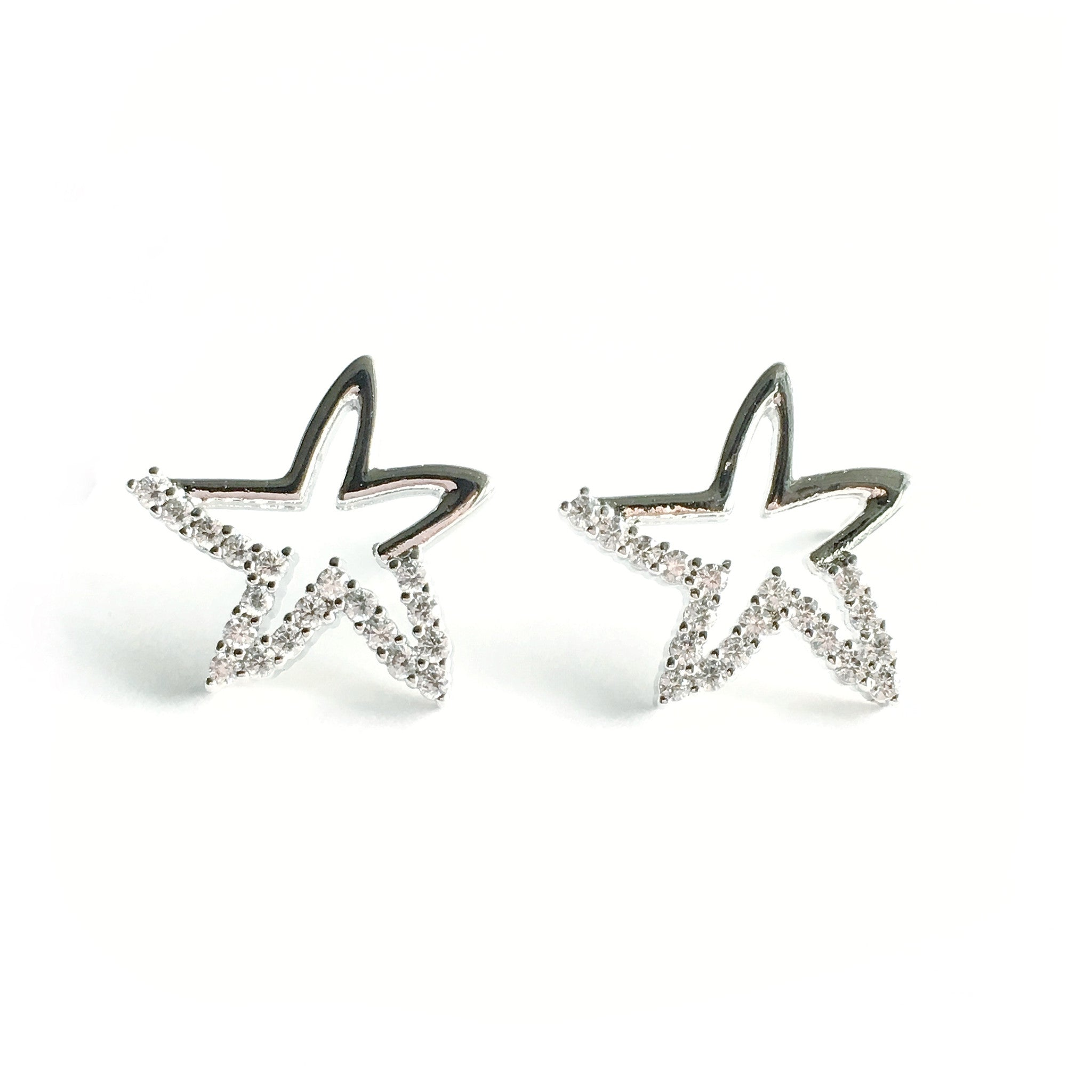 Gemini Star Silver Earrings - Micha Store